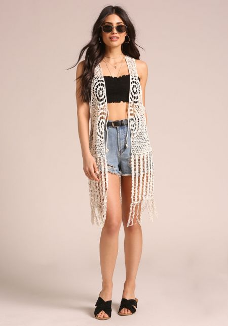 Natural Crochet Knitted Fringe Vest