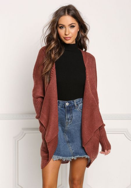 Dark Mauve Pointed Pocket Thick Knit Cardigan