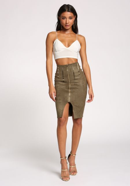 Olive Faux Suede Zipper Skirt