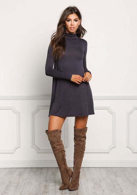 Charcoal Jersey Knit Turtleneck Shift Dress