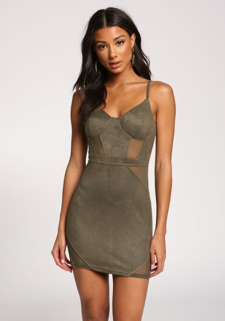 Olive Faux Suede Mesh Panel Bodycon Dress