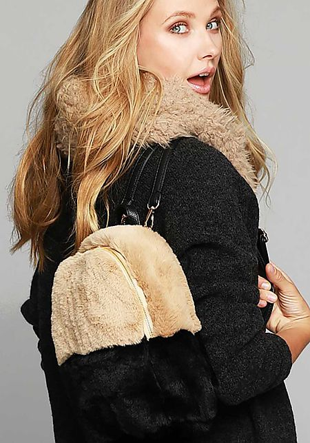 Beige Color Block Faux Fur Backpack
