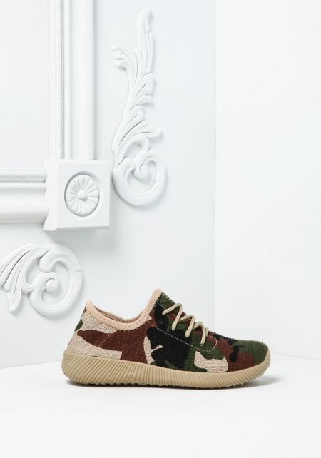 Camouflage Knit Slip On Sneakers