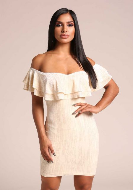 Ivory Velvet Sparkle Off Shoulder Bodycon Dress