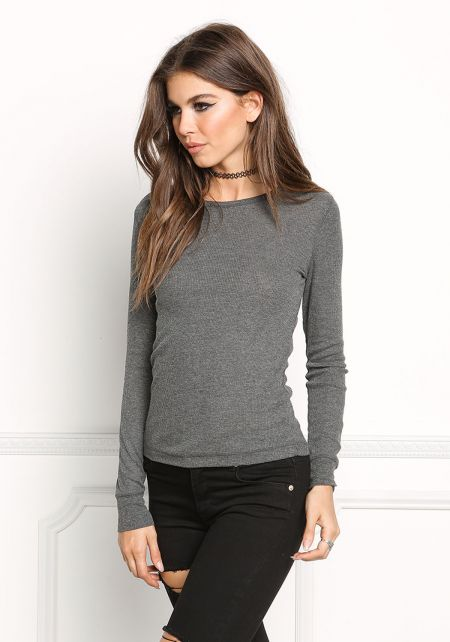 Heather Grey Basic Thermal Pullover Top