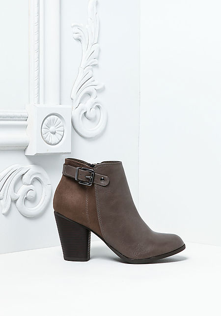 Dark Grey Leatherette Ankle Strap Booties