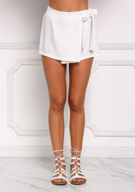 Ivory High Waist Surplice Skort