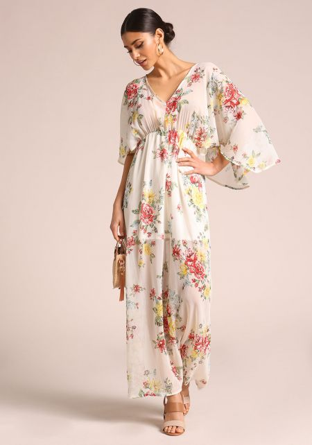 Ivory Floral Bell Sleeve Maxi Dress