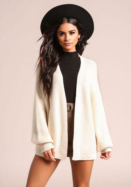 Cream Puff Sleeve Knit Cardigan