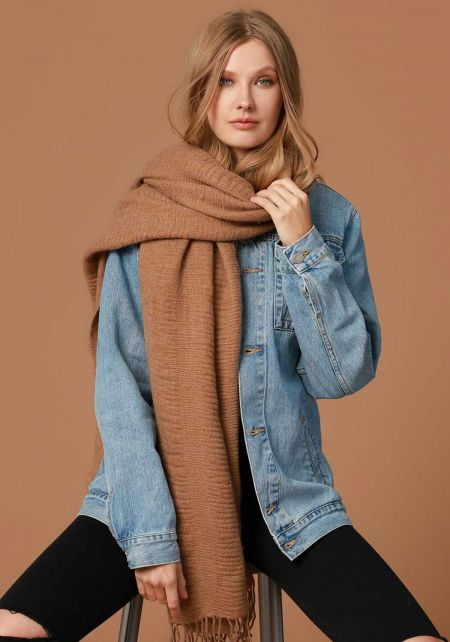 Camel Soft Thick Knit Scarf