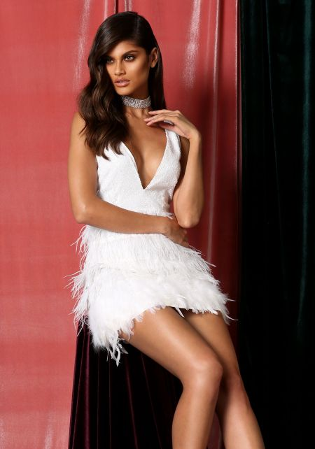 White Sequin Faux Feather Plunge Bodycon Dress