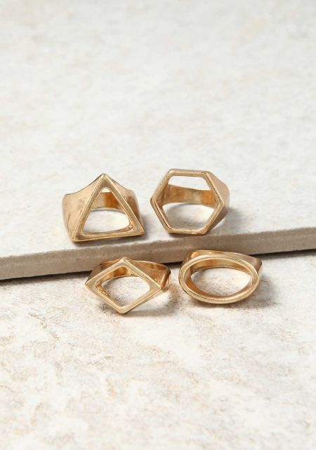 Gold Geometric Assorted Rings Set