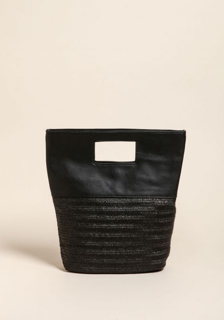 Black Straw Leatherette Tote Bag
