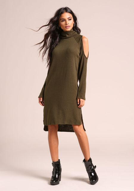 Olive Cold Shoulder Hi-Lo Knit Shift Dress