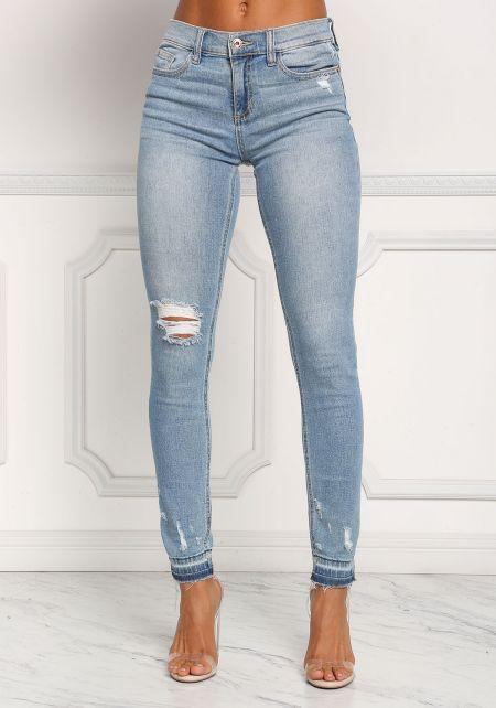 Light Denim Mid Rise Distressed Skinny Jeans