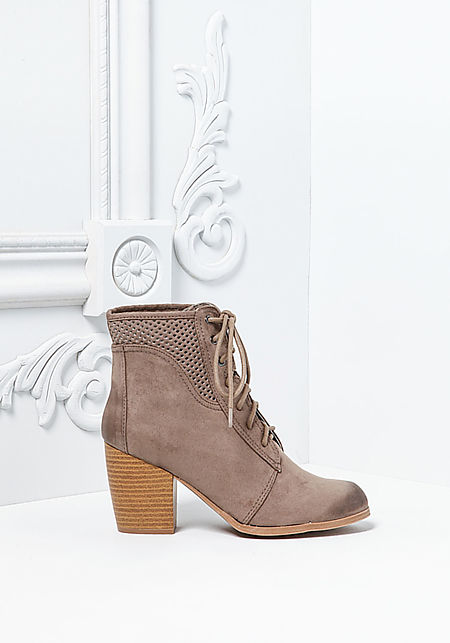 Taupe Suedette Lace Up Stacked Booties