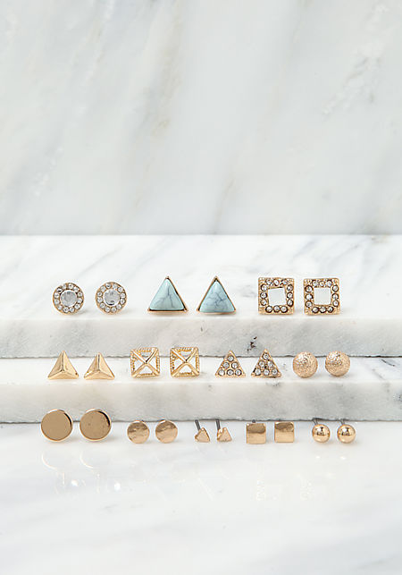 Gold Assorted Dainty Earrings Set