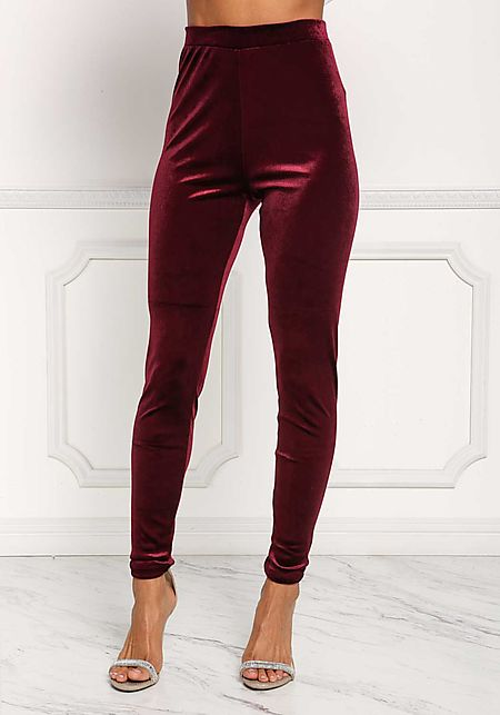 Burgundy Velvet High Rise Leggings