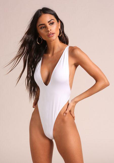 White Open Back Cross Strap Swimsuit Monokini