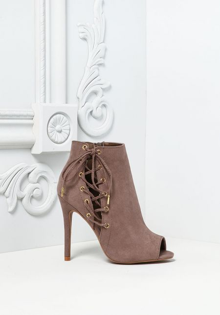 Taupe Suedette Side Lace Up Booties