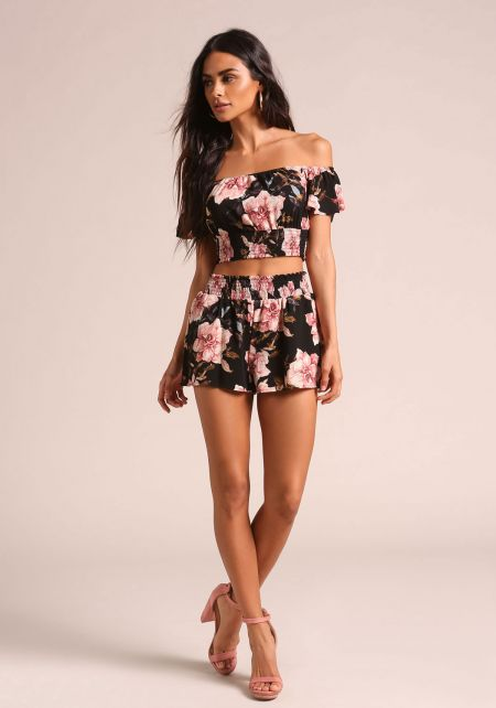 Black Rose Smocked Shorts