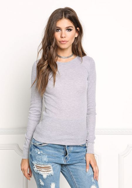 Heather Grey Thermal Pullover Top