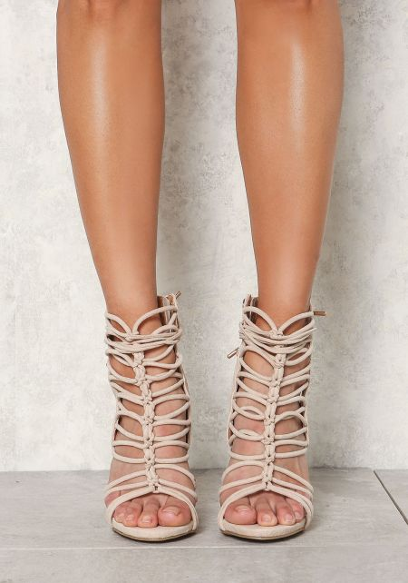 Nude Suedette Lace Up Backless Heels