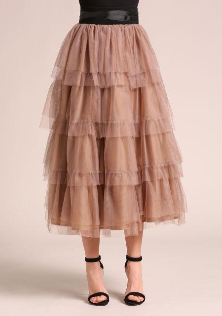 Taupe Tulle Tiered Satin Sash Ballerina Skirt