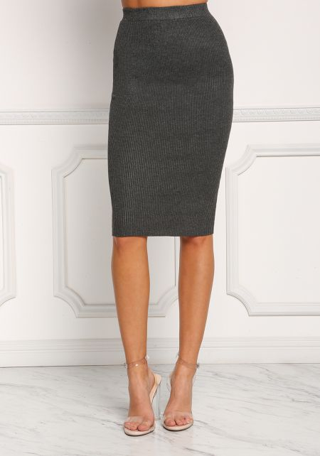 Charcoal Ribbed Knit High Rise Skirt
