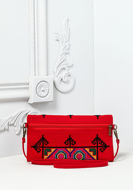 Red Woven Embroidered Crossbody Bag