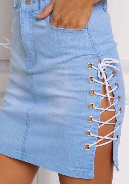 Light Denim Side Lace Up Skirt