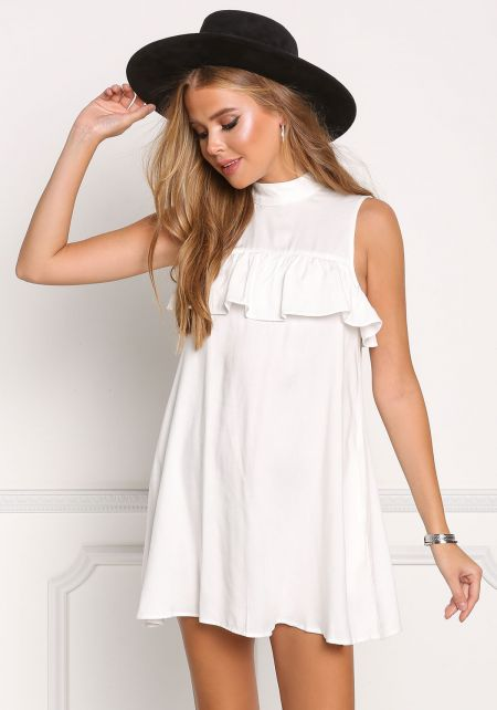 White Ruffle Pocket Shift Dress