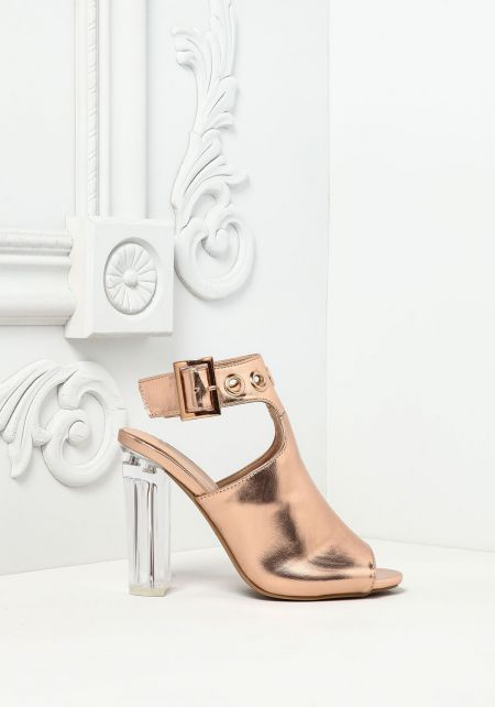 Rose Gold Leatherette Clear Mule Heels