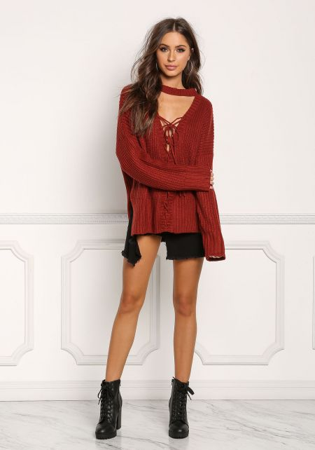 Brick Plunge Lace Up Thick Knit Sweater Top