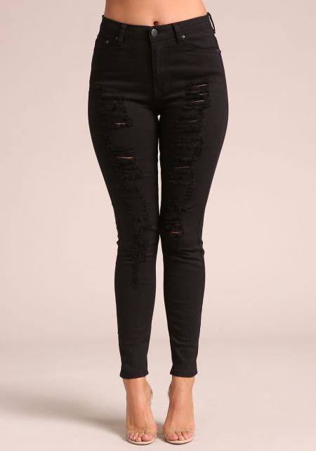 Black High Rise Distressed Skinny Jeans