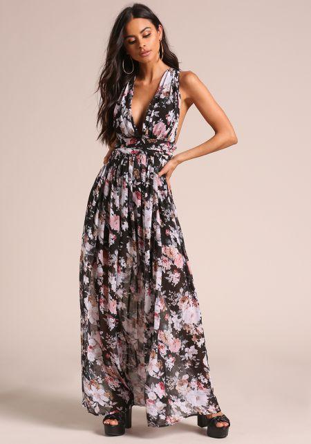 Floral Chiffon Cross Strap Maxi Dress