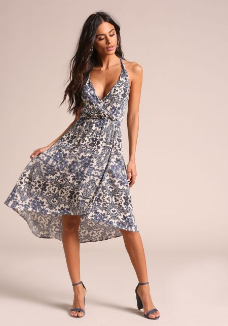 Navy Crepe Motif Hi-Lo Midi Dress
