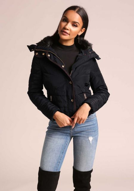 Navy Faux Fur Collar Hooded Parka Jacket