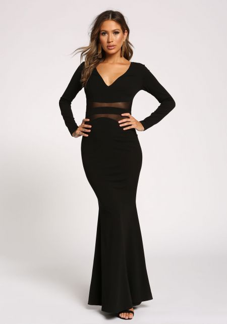 Black Mesh Panel Mermaid Maxi Gown