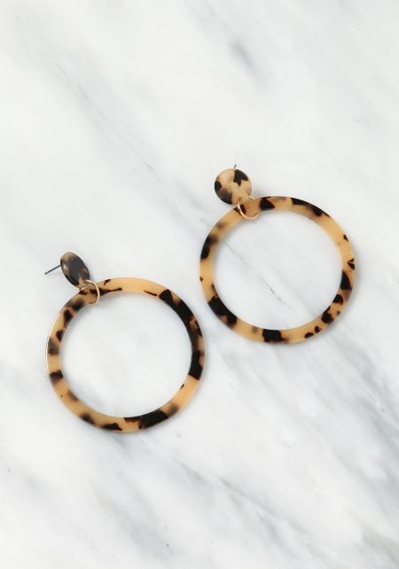 Beige Resin Hoop Earrings