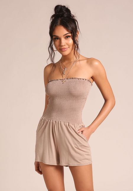 Mocha Smocked Strapless Pocket Romper
