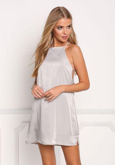 Silver Silky Side Strap Shift Dress