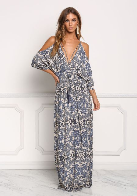 Navy Floral Crepe Cold Shoulder Maxi Dress