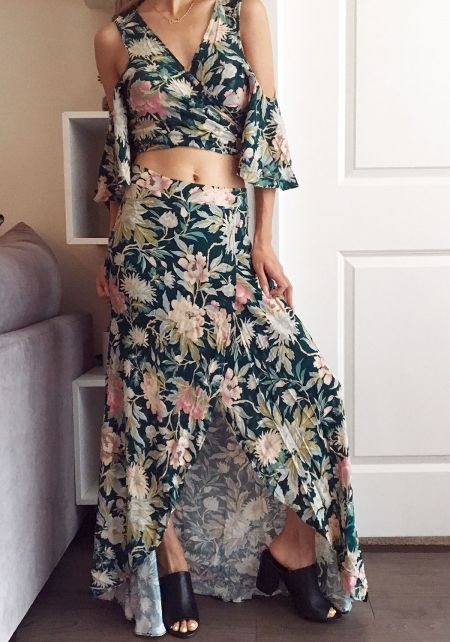 Multi Floral Slit Maxi Skirt