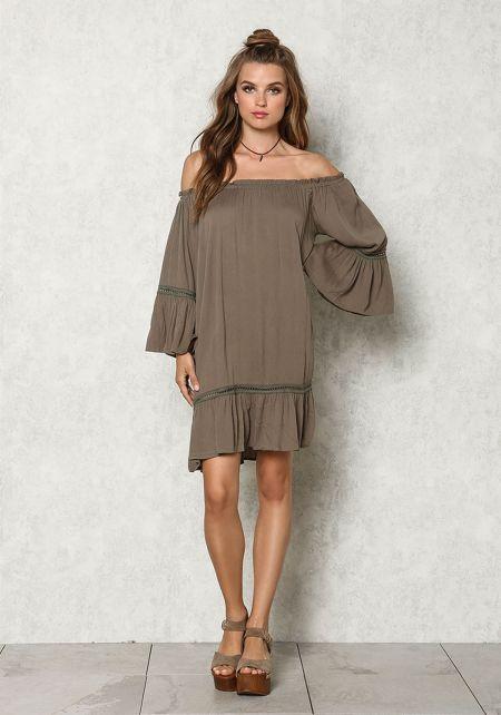 Olive Crepe Off Shoulder Bell Sleeve Shift Dress