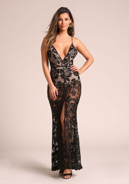 Black Floral Embroidered Plunge Slit Maxi Gown