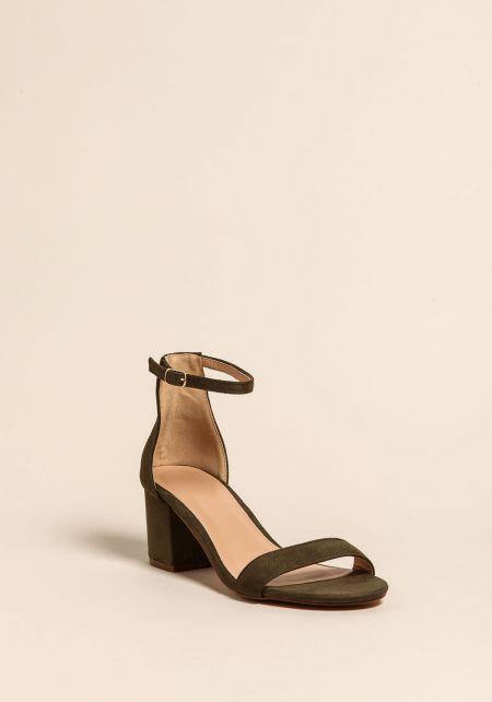 Olive Suedette Short Ankle Strap Heels