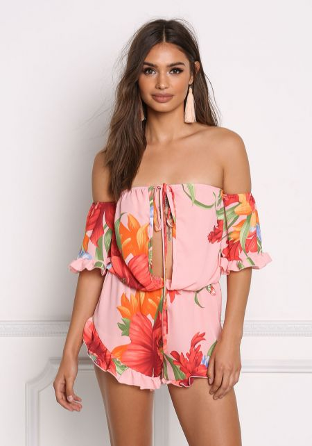 Light Coral Plunge Floral Chiffon Off Shoulder Rom