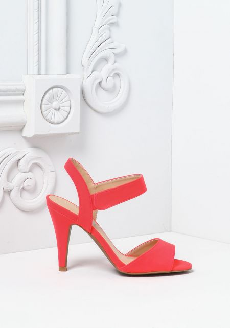 Neon Coral Suedette Short Ankle Strap Heels