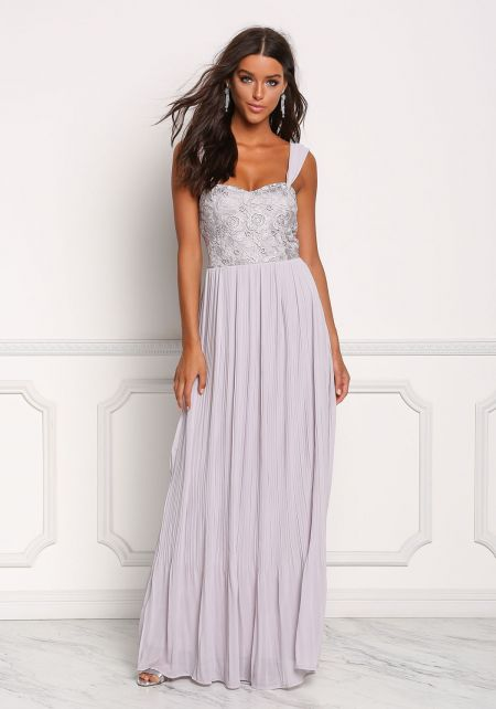 Light Grey Embroidered Pleated Maxi Gown